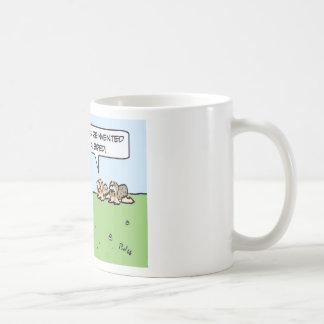 Caveman reinvents himself as a biped. coffee mug