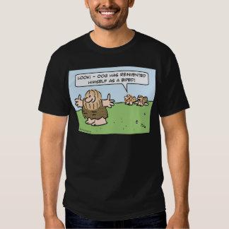 Caveman reinvents himself as a biped. t-shirt