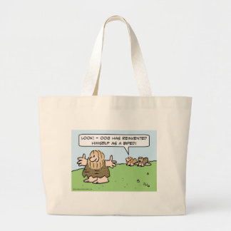Caveman reinvents himself as a biped. tote bag