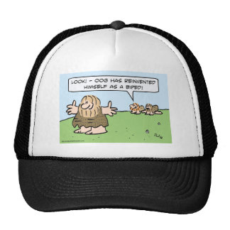 Caveman reinvents himself as a biped. trucker hat