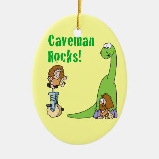 Caveman Rocks Double-Sided Oval Ceramic Christmas Ornament