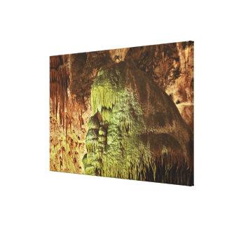 Caveman, stalactites and flowstone formations, Big Canvas Print