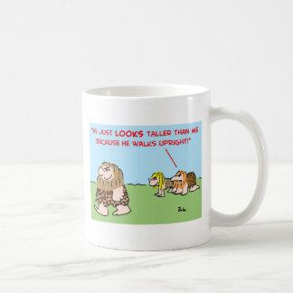 caveman taller walks upright coffee mug