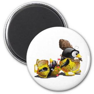 Caveman Tux in Love 2 Inch Round Magnet