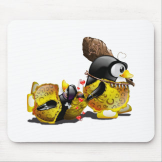 Caveman Tux in Love Mouse Pad