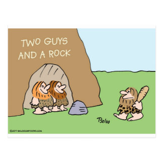 caveman two guys and a rock postcard