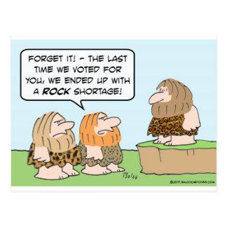 caveman voted rock shortage postcard