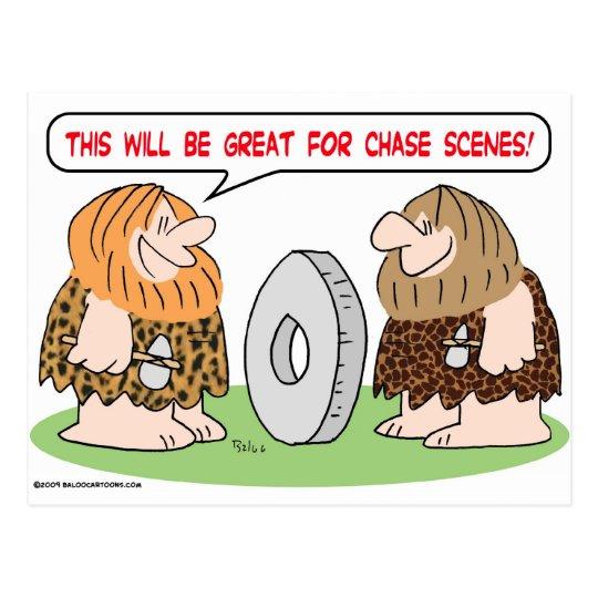 caveman wheel chase scenes postcard