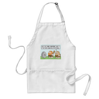 caveman wheel wife invented mashing potatoes adult apron