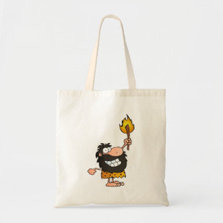Caveman with Torch Budget Tote Bag