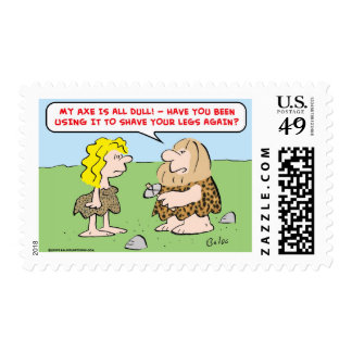 caveman, woman, axe, shave, legs postage