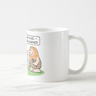 Cavemen invent wheel, then casino. classic white coffee mug