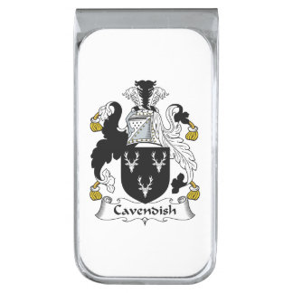 Cavendish Family Crest Silver Finish Money Clip