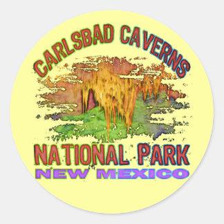 Cavernas parque nacional, New México de Carlsbad Etiquetas Redondas