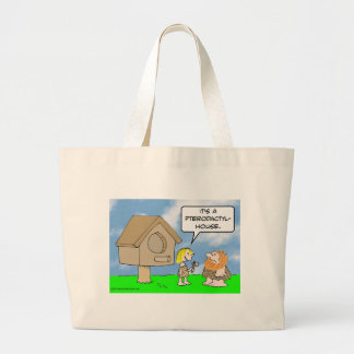 Cavewoman builds pterodactyl house canvas bag