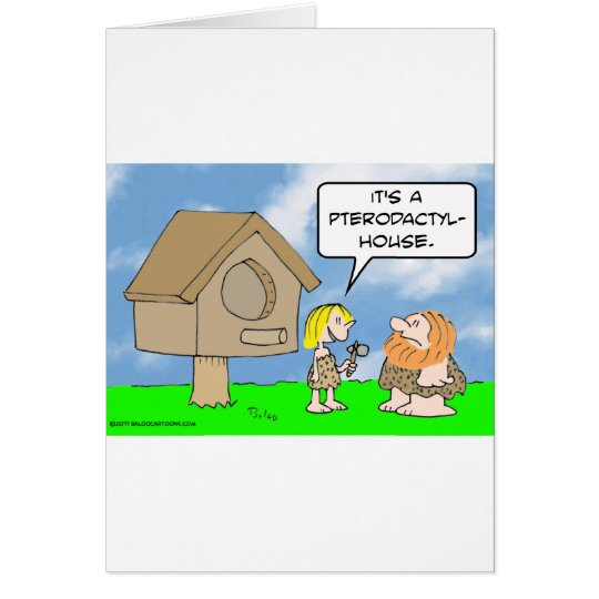 Cavewoman builds pterodactyl house card