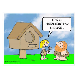 Cavewoman builds pterodactyl house postcard