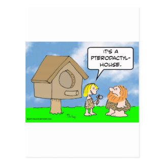 Cavewoman builds pterodactyl house postcard
