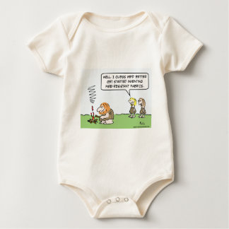Cavewoman invents fire-resistant fabric. baby bodysuit