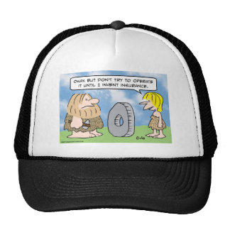 Cavewoman invents insurance trucker hat