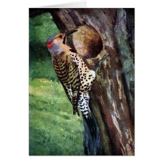cavidad Amarillo-provista del parpadeo y del árbol Felicitación