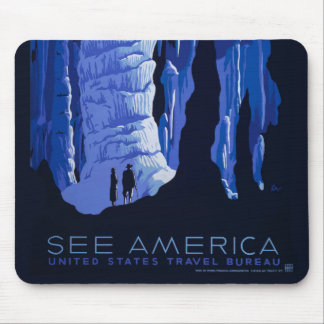 Caving Travel Cavern Vintage Travel Poster Mouse Pad