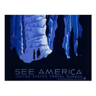 Caving Travel Cavern Vintage Travel Poster Postcard
