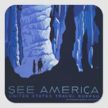 Caving Travel Cavern Vintage Travel Poster Square Sticker