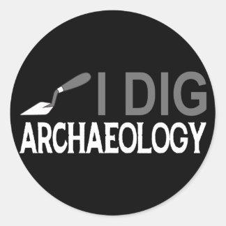 Cavo arqueología pegatina redonda