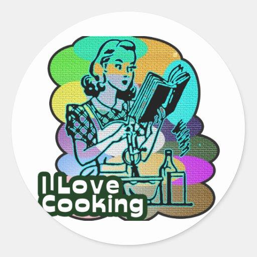 Cavo cocinar el libro del cocinero pegatina redonda