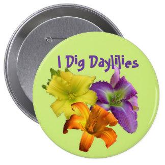 Cavo Daylilies Pin Redondo De 4 Pulgadas