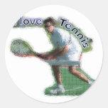 Cavo dobles del tenis etiqueta redonda