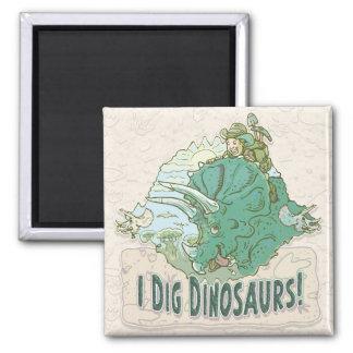 Cavo los dinosaurios para los cazadores del dinosa imán cuadrado
