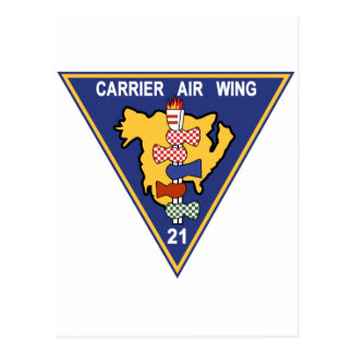 CAW-21 Carrier Air Wing Patch Navy Insignia Milita Postcard