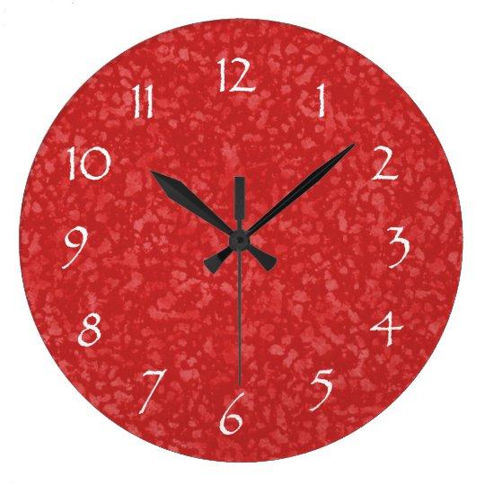 Cayenne Red Mottled Pattern Large Clock