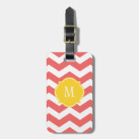 Cayenne & White Chevron Monogram Luggage Tag