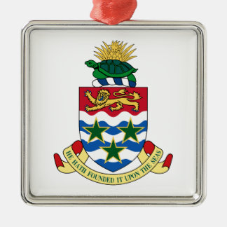 Cayman Islands Coat of Arms Square Metal Christmas Ornament