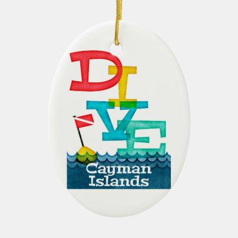 Cayman Islands Dive - Colorful Scuba Ceramic Ornament