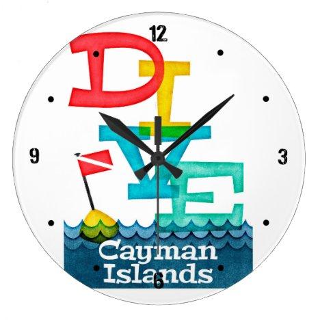 Cayman Islands Dive - Colorful Scuba Large Clock