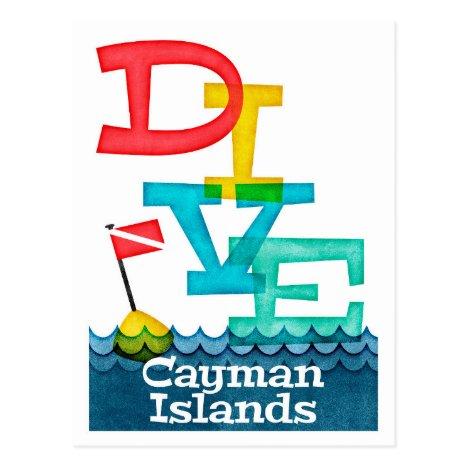 Cayman Islands Dive - Colorful Scuba Postcard