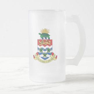 cayman islands emblem frosted glass beer mug