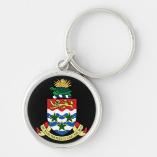 cayman islands emblem Silver-Colored round keychain