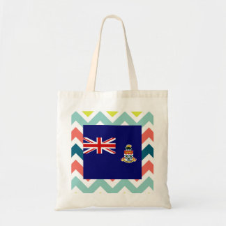 Cayman Islands Flag Box on Colorful Chevron Budget Tote Bag