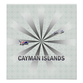 Cayman Islands Flag Map 2.0 Posters