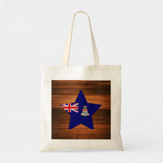 Cayman Islands Flag Star on Wood Budget Tote Bag