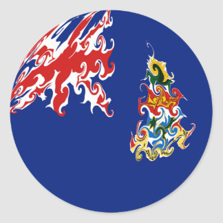 Cayman Islands Gnarly Flag Classic Round Sticker