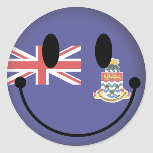 Cayman Islands Smiley Round Stickers