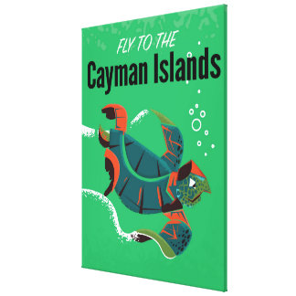 Cayman Islands vintage travel poster Canvas Print