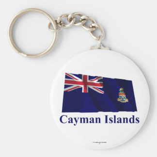 Cayman Islands Waving Flag with Name Basic Round Button Keychain
