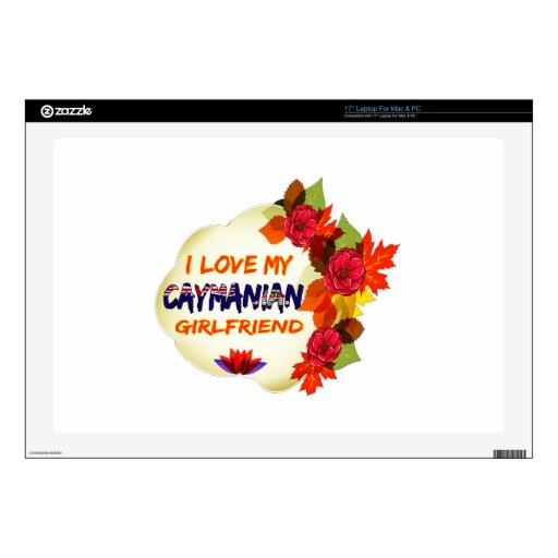 """Caymanian Girlfriend designs 17"""" Laptop Decal"""